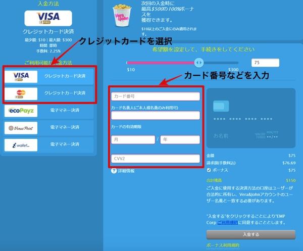 ベラジョンカジノの入金情報入力画面