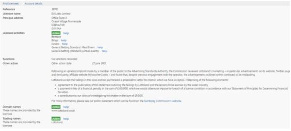 ロトランド 英国賭博協会のライセンス